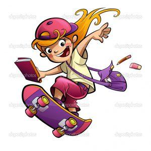 Cartoon blonde pupil girl doing sports with skateboard dressed with pink purple and red clothes and cap on her way to school